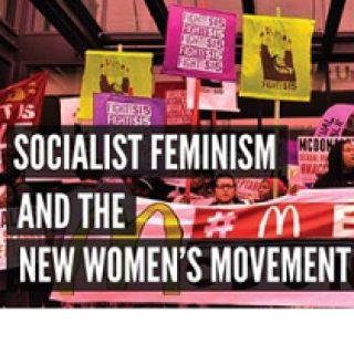 Colorful background of people with mainly pink signs at a rally and words Socialist Feminism and the New Women's Movement