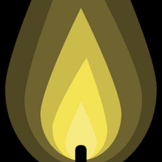 Top of a candle flame as a cartoon in different hues of yellow against black