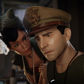 Puppet looking people, a white man in a military hat looking disturbed and a woman leaning over him looking concerned