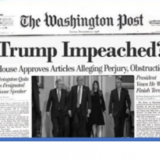 Newspaper headline for Washington Post saying Trump Impeached
