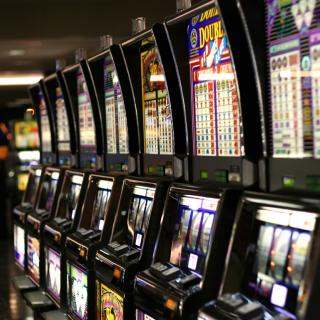 Row of flashy video slot machines
