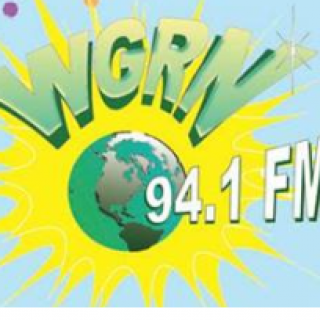 Letters WGRN and 94.1FM with a earth and a yellow splash behind it over light blue