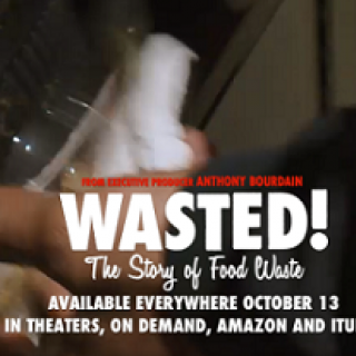 Food container being shoved into a trash container and words Wasted and details about the film