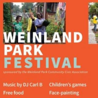 Orange background with words Weinland Park Festival