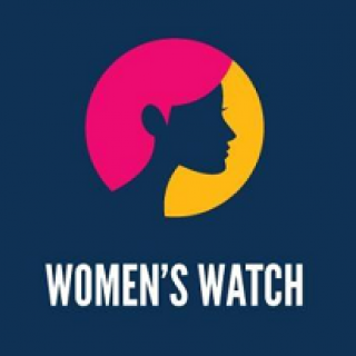 Drawing of side view of woman's head in a circle with red hair and yellow on other side of blue head silhouette with words women's watch