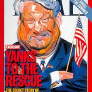 Time magazine cover with heavy white haired man holding American flag and words Yanks to the rescue