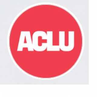 Round red circle with letters ACLU