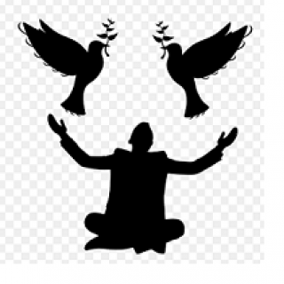 Black against white silhouette of a man sitting cross legged on the ground with his arms spread and two doves above him with leaf twigs in their beaks