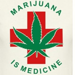 Red cross with a green marijuana leaf in front and the words Marijuana is Medicine
