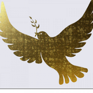 Gold drawing of dove with twig and leaf in its beak