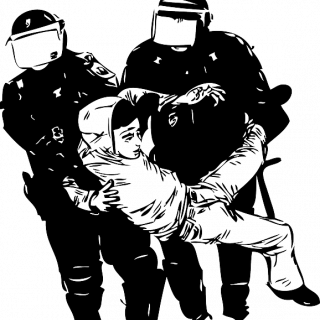Drawing of two police arresting a guy and carrying him