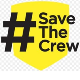Yellow badge symbol and a black hashtag and words Save the Crew