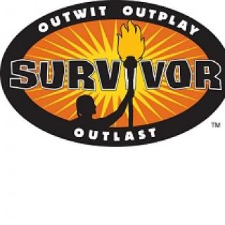 Oval with the word Survivor in the middle and a drawing of a guy with a torch and the words Outwit Outplay and Outlast on the perimeter