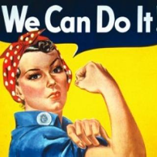 Drawing of white woman with red bandanna on her head making a fist and showing her bulging bicep muscle and above the words We Can Do It