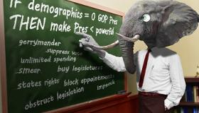 Man in a suit with a huge elephant head pointing at a green blackboard that has words about voter suppression