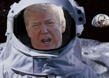 Older white man with mouth open, his face in an astronaut helmet and outfit against blackness of space and a moon in the background
