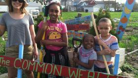 Kids posing at garden