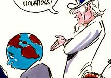 Drawing of Uncle Sam in a red, white and blue top hat talking to the world saying Human RIghts Violations
