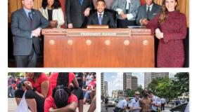 Collage of photos, City Council, a BLM protest and Activist kneeling
