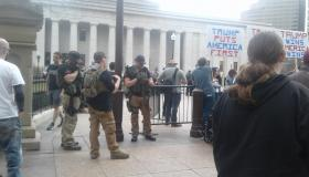 Guy with semi automatic guns at statehouse