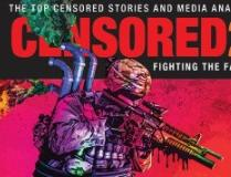 The word Censored and a military man in a helmet pointing a crazy looking machine gun