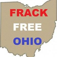 A beige background shaped like the state of Ohio and the words Frack Free Ohio in Red white and blue